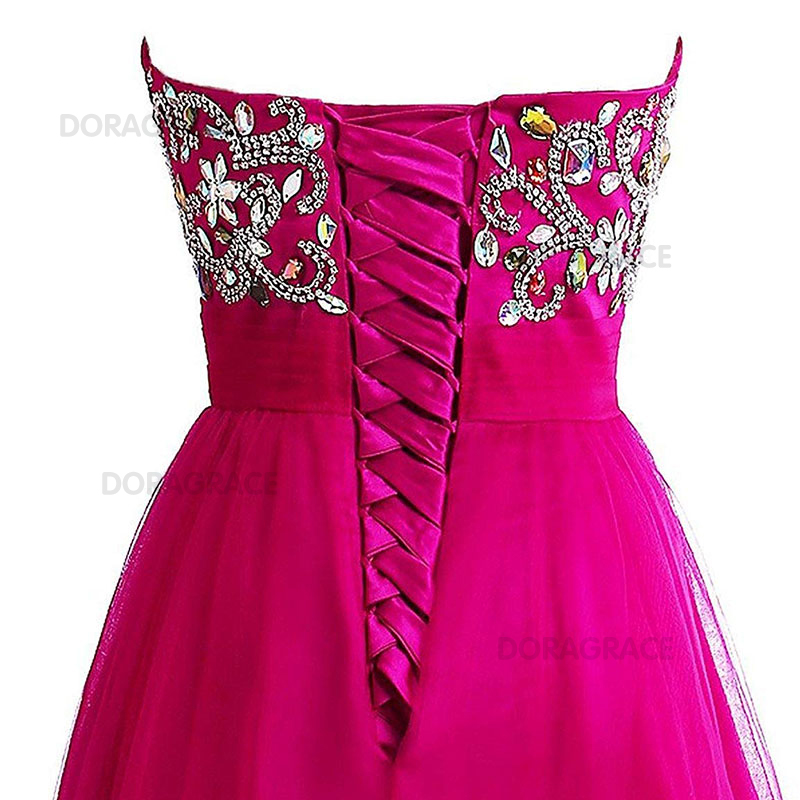Doragrace Sweetheart Chiffon Beaded Prom Dresses Long Evening Formal Gowns Hot Pink in Evening Dresses from Weddings Events