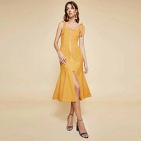 2018 Sale Ukraine Vestidos Mujer Titotato Summer New Style Large Strap Halter Dress Mingxian Double Side Zipper Slim Tail Woman