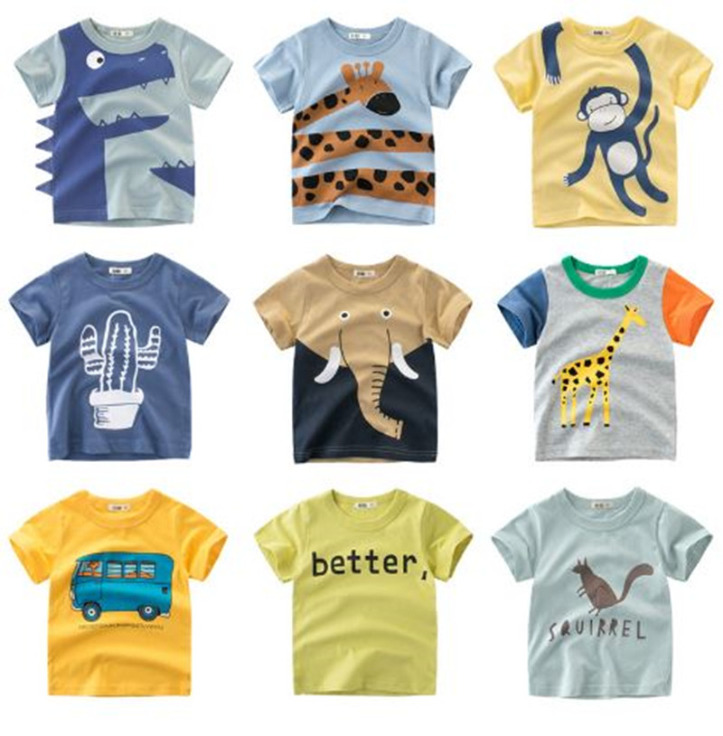 Summer Children Clothing Boys T Shirt Cotton Dinosaur Short Sleeve T-shirt Kid Boy Casual Cute T-shirt 2-8Y Shirt