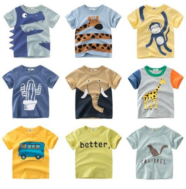 קיץ ילדי בגדי בני T חולצת כותנה דינוזאור קצר שרוול חולצה ילד ילד מזדמן חמוד חולצה 2-8Y חולצה