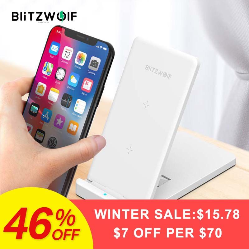 BlitzWolf 10 W Qi Drahtlose Ladegerät Für iPhone X 8 Galaxy S9 S8 S7 S6 Rand Hinweis 8 Telefon Schnelle wireless Charging Pad Docking Station