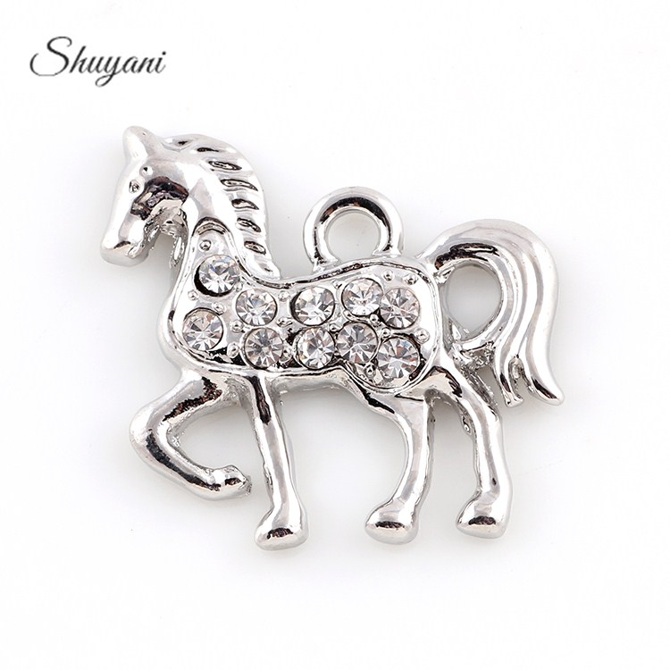 20*23mm Silver Gold Crystal Horse Charm Pendant For Bracelet Necklace Jewelry Making Diy Handmade Crafts