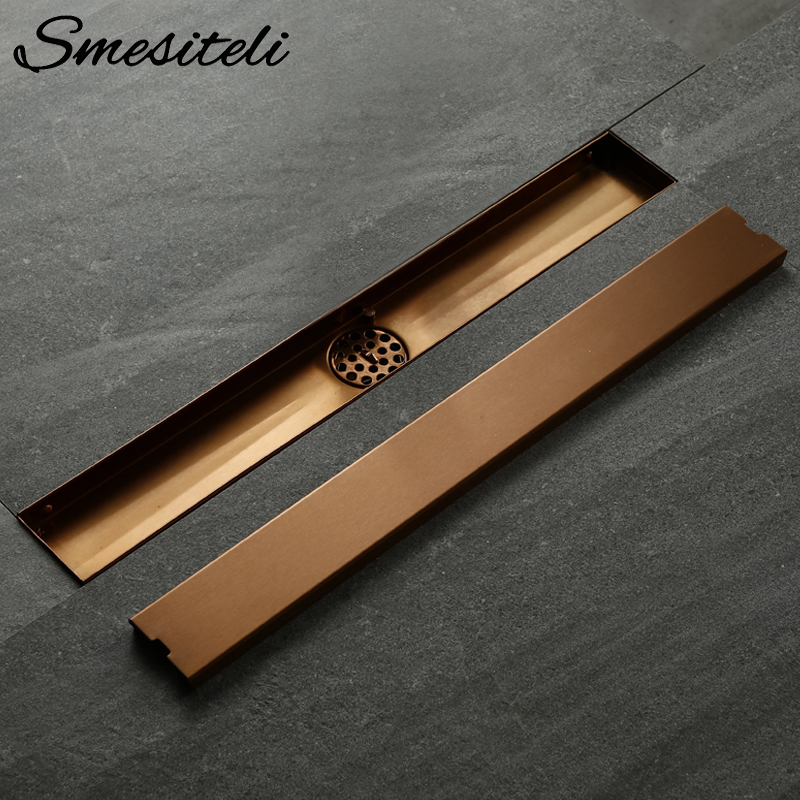 Smesiteli Stainless Steel Bathroom Drain Rose Gold 800/900/1000mm Rectangular Linear Tile Insert Anti-Odor Floor Drain Bathroom