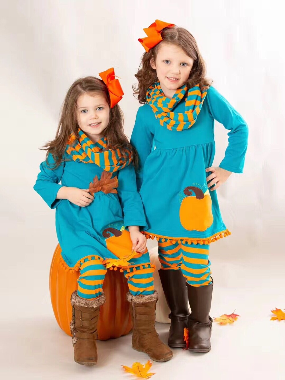 Fall/winter baby girls 3 pieces scarf children clothes jade pumpkin orange striped pom-pom cotton long sleeve outfits boutique striped embroidery pom pom detail blouse