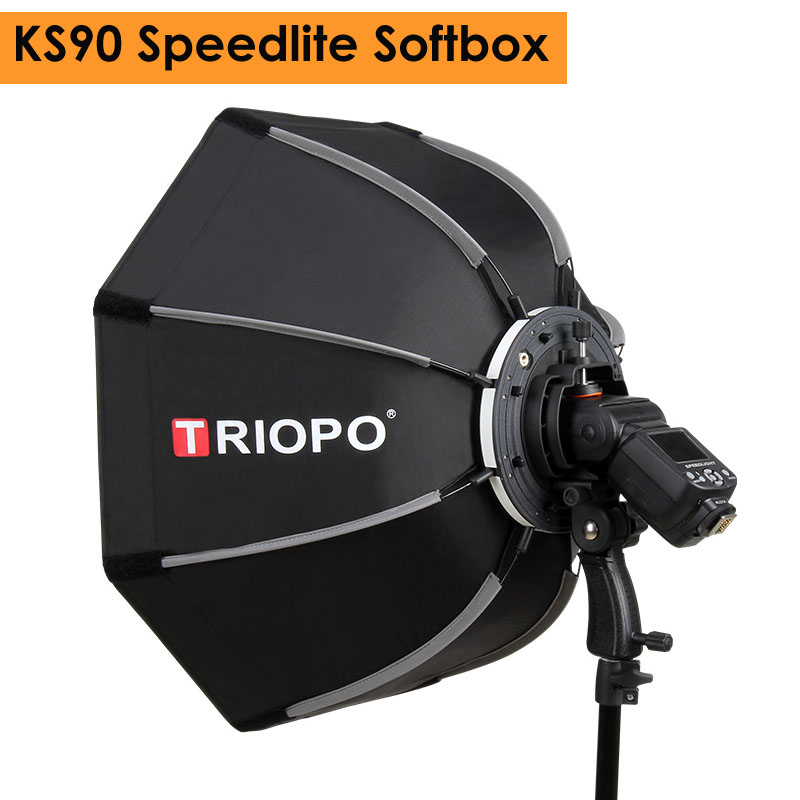 Triopo 90cm Photo Portable Outdoor Speedlite Octagon Umbrella Softbox For Godox V860II TT600 Yongnuo YN560IV YN568EX Flash KS90