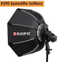Triopo 90cm foto portátil al aire libre Speedlite Octagon Softbox paraguas para Godox V860II TT600 Yongnuo YN560IV YN568EX Flash KS90