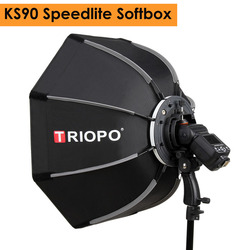 Triopo 90cm foto portátil ao ar livre speedlite octagon guarda-chuva softbox para godox v860ii tt600 yongnuo yn560iv yn568ex flash ks90