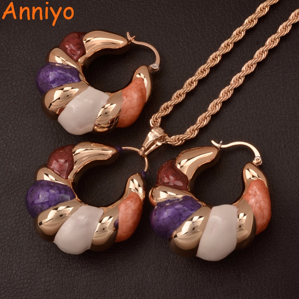 Anniyo African Jewelry sets Nigeria Pendant Necklace & Earrings Enamel Hollow Hyperbole Ornament Party Gifts #060404