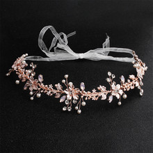 цена Rose gold pearl alloy rhinestone headband wedding dress headband wedding luxury woman accesoires jewelry онлайн в 2017 году