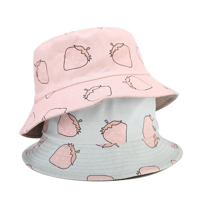 Hot Fisherman Hat Women Female Summer Autumn Fruit Strawberry Double-sided Wearing Cap Outdoor Travel Sun Visor Bucket Hat Caps