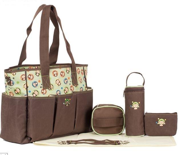 Aboutbaby 7 հատ / սահմանել Բազմաֆունկցիոնալ Tote ուսի պայուսակ Mummy մայրություն Diaper Nappy Bag Toddler Nappies Organizer Storage Bag