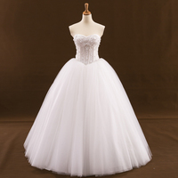 Real Sample Ball Gown Wedding Dresses 2017 Lace Up Back Beaded Pearls White Tulle Bridal Gown