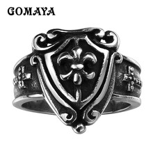 GOMAYA 316L Stainless Steel Rings Vintage Cool Cross Shield Shape Male Ring Punk Rock Jewelry Accessories Anel for Men vnox rock punk men s cocktail ring vintage silver tone rings for men anel masculino turkish male jewelry