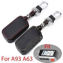 جلد طبيعي A93 سيارة مفتاح القضية غطاء ل Starline A93 A63 A36 A39 اتجاهين إنذار سيارة تحكم عن بعد LCD الارسال المفاتيح