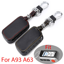 Genuine Leather A93 Car Key Case Cover for Starline A93 A63 A36 A39 Two Way Car Alarm Remote Controller LCD Transmitter KeyChain