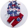 Ropa Para bebés de Bebé 2016 Bebé de La Manera Impresión de la Ropa de 2 unids Con Pantalón Para El Bebé Edad 9 M A 3 T Roupa Infantil Menina