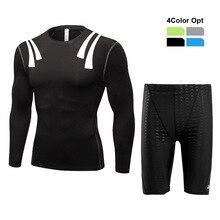 Men Boy Swim Top T Shirt Trunks Boxers Shorts Swimwear Short Pants SwimSuit Swimming Wear Long Sleeves for Beach Spa Pool qwer4