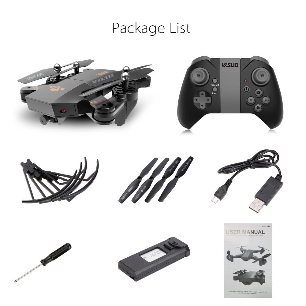 US in Stock for VISUO XS809HW Wifi FPV 2.0MP 720P 120 FOV Wide Angle Camera Drone Selfie Foldable RC Drone Quadcopter RTF Dron (2)