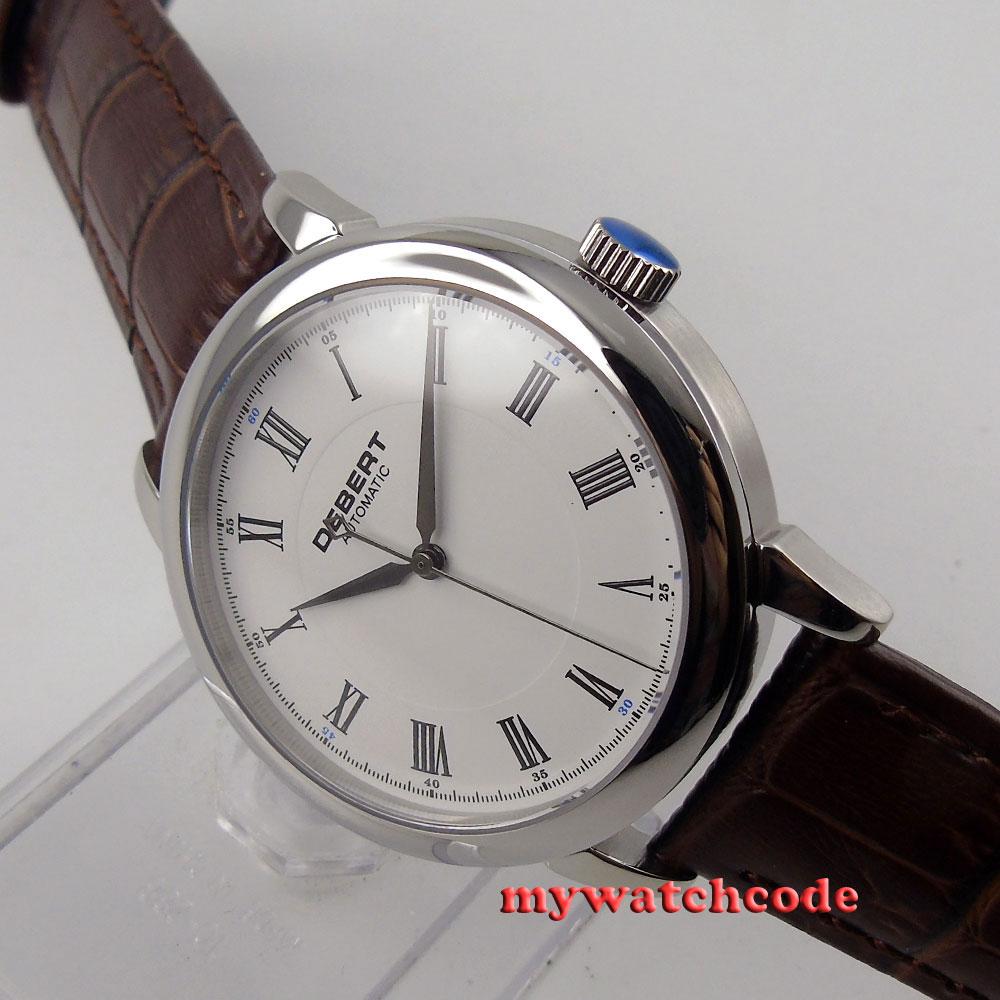 Polished 40mm Debert white dial Roman marks miyota 821A Automatic mens Watch28Polished 40mm Debert white dial Roman marks miyota 821A Automatic mens Watch28
