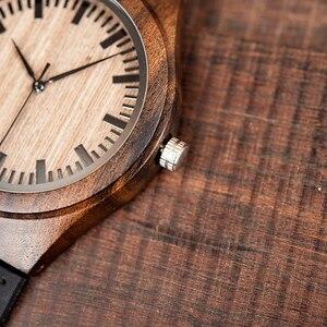 Image 3 - Marca superior bobo pássaro relógio de luxo masculino masculino relógios de madeira preta quartzo relógio de pulso banda couro macio oem C F08