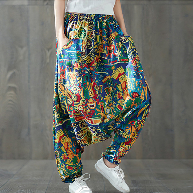 Women Boho Harem Pants Loose Oversized Blended Cotton Streetwear Hip Hop Dance Trousers Ethnic Print Hippie Pant