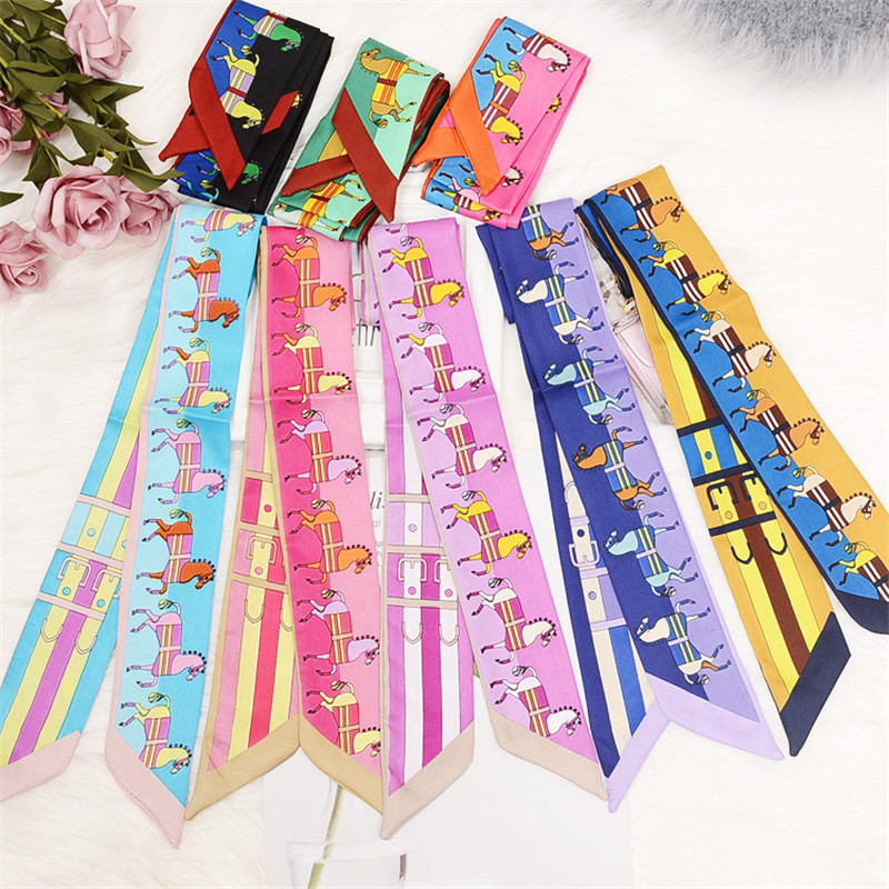 2019 New Design Women Silk   Scarf   Horse Print Skinny   Scarf   Small Handle Bag Ribbon Hair Band Tie Fashion Female Head   Scarves     Wrap