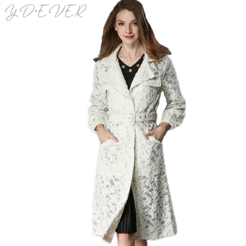 Piste Ceinture Picture Mince Turn L'europe Survêtement Femmes Dentelle Color Long De Broderie Dames Sexy Collier Manteaux Abrigos Évider down Trench coat 0wSgP0