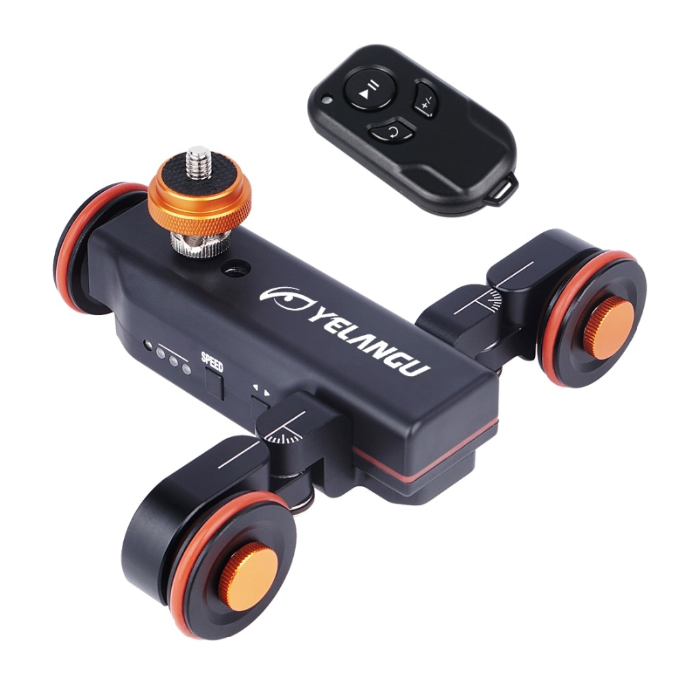 YELANGU L4X Autodolly Electric Slider Motorized <font><b>Pulley</b></font> <font><b>Car</b></font> Cine Dollies <font><b>Pulley</b></font> Rolling Skater with Wireless Remote for DLSR etc image