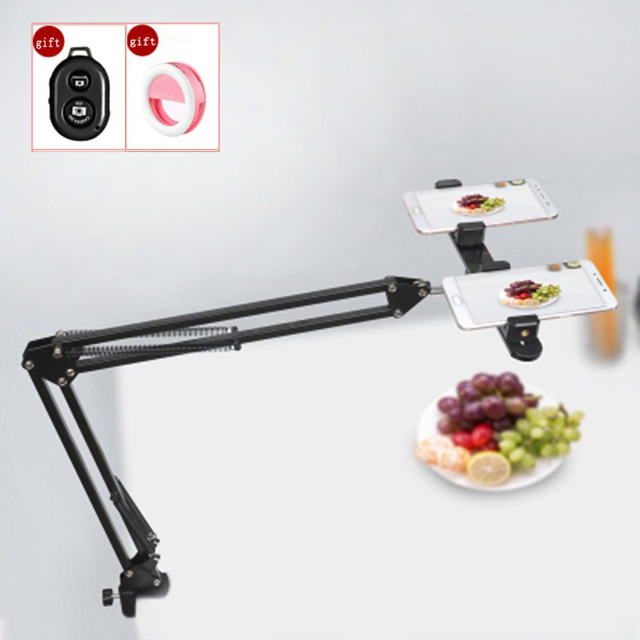 Lightupfoto Suspension Arm Stand Clip Holder and Table Mounting Clamp Pop+Phone Clip Bracket Kits for Entertainment/Live Video