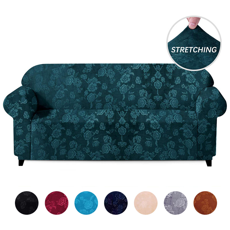 Velvet Embossing Floral Stretch Sofa Cover For Living Room Universal Sectional Couch Slipcover Elastic Sofa Cover 1/2/3/4 Seater
