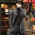 Autumn men long cardigan sweater Mens mohair sweater coat thick warm chest J511