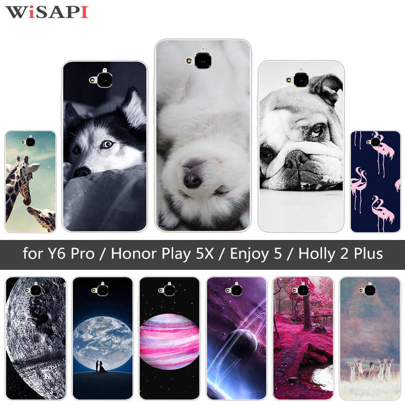 TPU souple Chien étui pour Huawei Honneur 4C Pro TIT-AL00 Y6 Pro TIT-L01 Profitez de 5 Honneur Holly 2 Plus Couverture Pour Huawei Honor Jouer 5X
