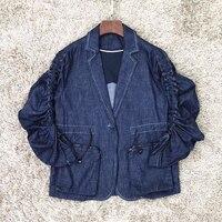 Модный Тонкий Блейзер для женщин Новое джинсовое пальто ddxgz2