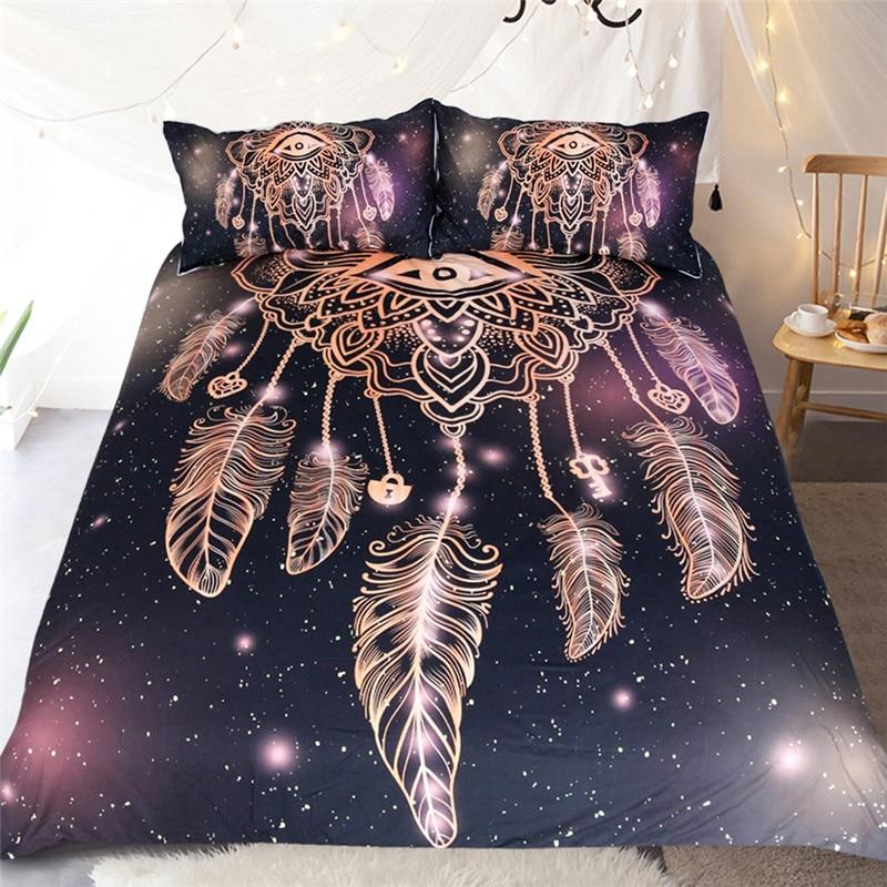 3d noir Dreamcatcher eye Housse de couette Mandala Ensemble de Literie roi Taie D'oreiller Couvre-lits Housse de Couette queen Size lit ligne