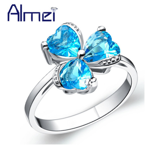 Almei Sale Bridal Clover Crystal Women Rings Silver Color Heart Flower Girl Ring with Blue Red Purple Stone Fianit Jewelry J347