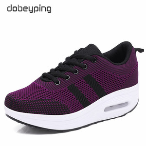 Image 1 - 2020 New Spring Summer Casual Shoes Woman Breathable Mesh Women Loafers Platform Womans Sneakers Lace Up Ladies Flats Shoe