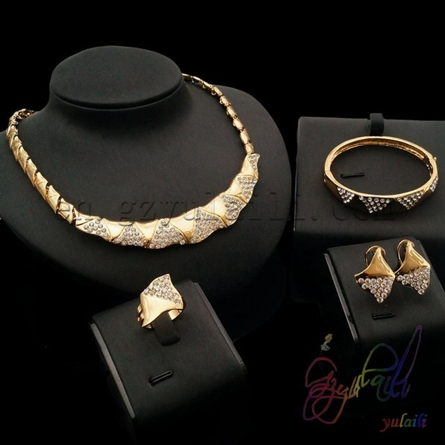 Rhinestone jewelry set italian gold jewelry sets high end costume
