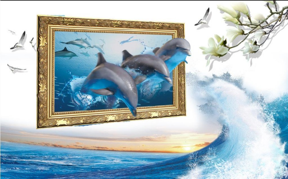 Popular dolphin wall mural buy cheap dolphin wall mural for Dolphin wall mural