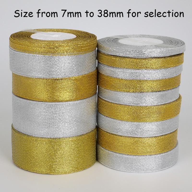 Ручной работы золота и серебра лента 25 двор 7-38 мм металлический блеск свадебные Новогоднее украшение DIY лямки карты подарок упаковка