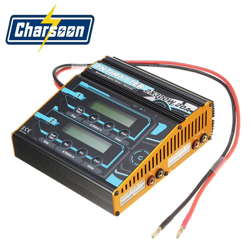 Charsoon Antimatter 2x300W 20A Lipo Battery Balance Charger Discharger for RC Models Toy Rechargeable Power Charging original ev peak d1 rc lipo battery charging for yuneec typhoon q500 intelligent balance battery charger