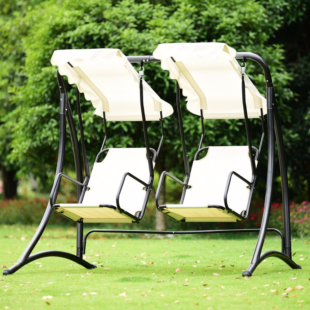 Giantex 2 Person Hammock Porch Swing Patio Outdoor Hanging Loveseat Canopy Glider Swing Outdoor Furniture OP3540