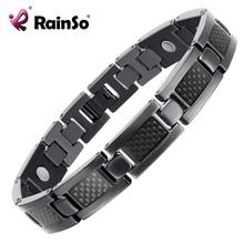 Titanium pulsera brazalete negro plateado magnética de atención de salud de calidad superior pulsera hombres joyería pulseras amor otb-1271bk