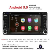 Android 9.0 Quad 4 Core CPU 2 DIN Universal Radio Car Nav GPS stereo For Toyota Corolla Camry Prado RAV4 Hilux VIOS DAB TPMS DVD