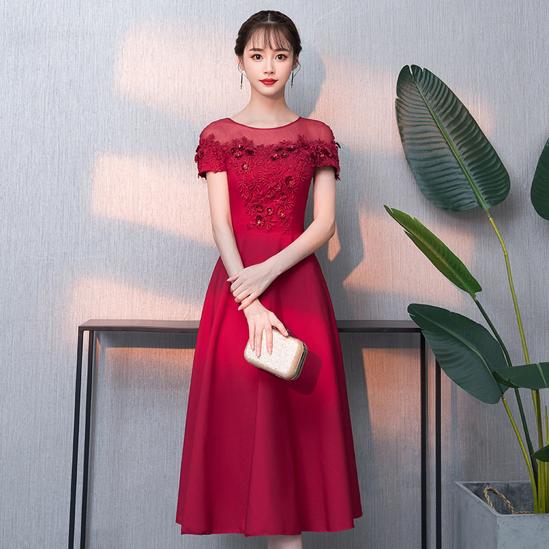Été à manches courtes une ligne Robe De soirée Appliques Floral bal robes De soirée Robe De soirée élégante mariée chinoise robes 06595