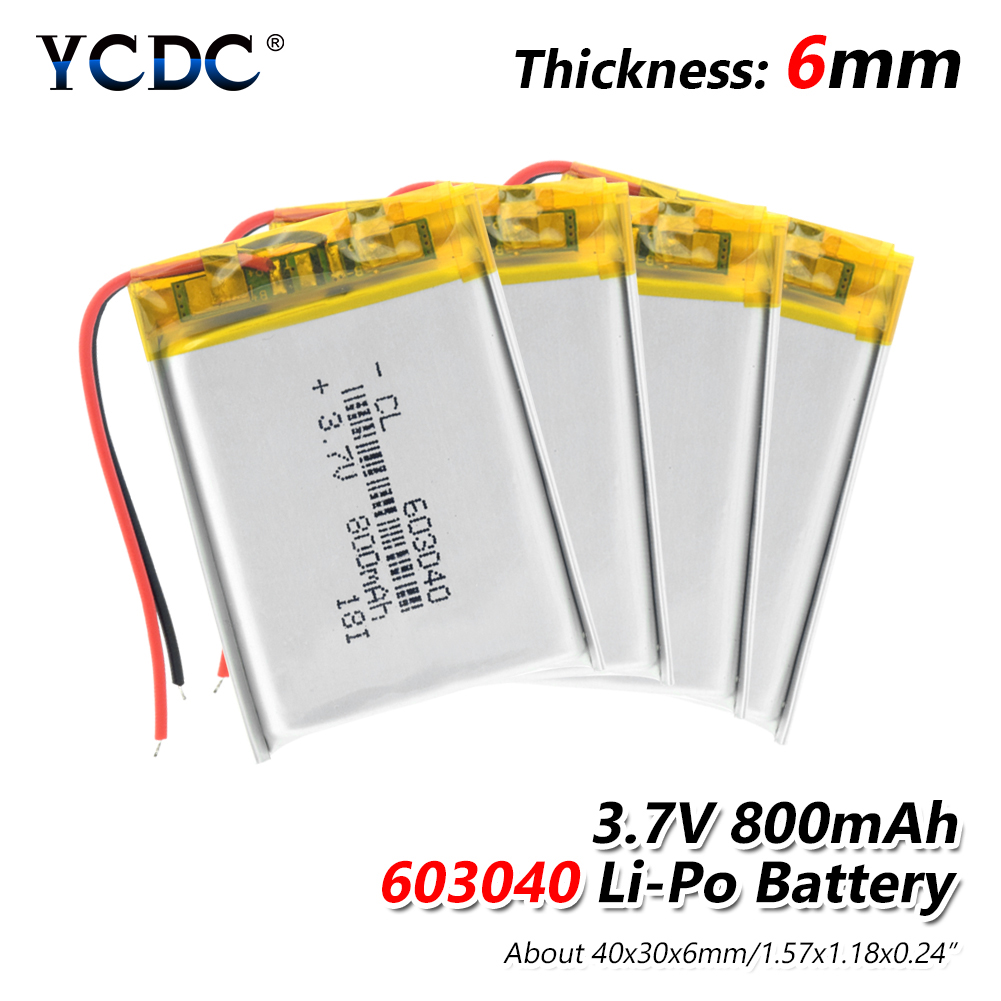 1/2/4 Pieces 2019 New 603040 Li Ion Polymer 800mah Battery 3.7 V Rechargeable 800mah Lipo Lithium Batteries With Pcb Protection