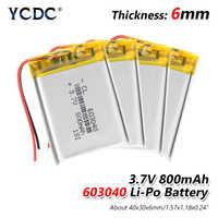 1/2/4 stück 2019 Neue 603040 Li Ionen Polymer 800mah Batterie 3,7 V Wiederaufladbare 800mah lipo Lithium-Batterien Mit Pcb Schutz