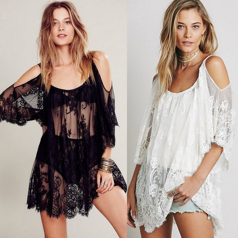 Summer Women Beach Bikini Cover Up Floral Embroidery Swimwear Female Lace See Through Bathing Suit Cover Ups Robe De Plage