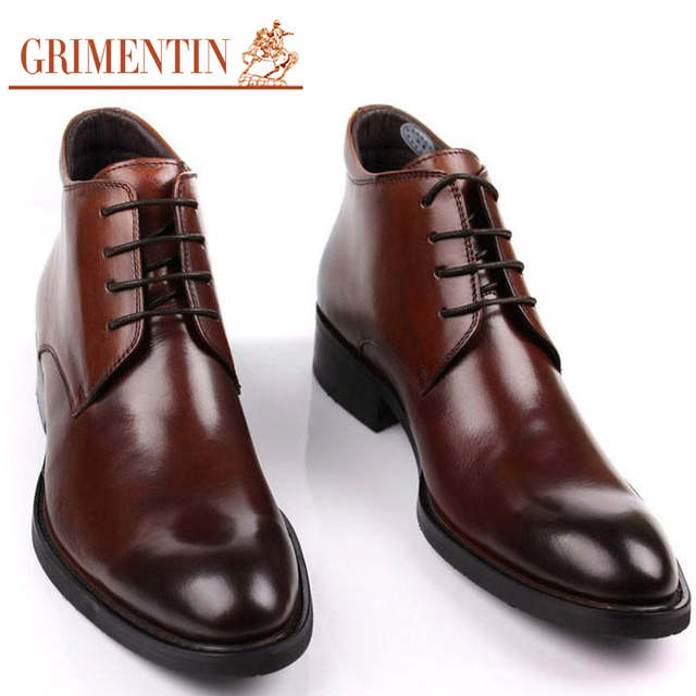 Men Boots Genuine Leather Ankle Autumn Winter Black Brown Luxury Designer Dress Boots GRIMENTIN B071