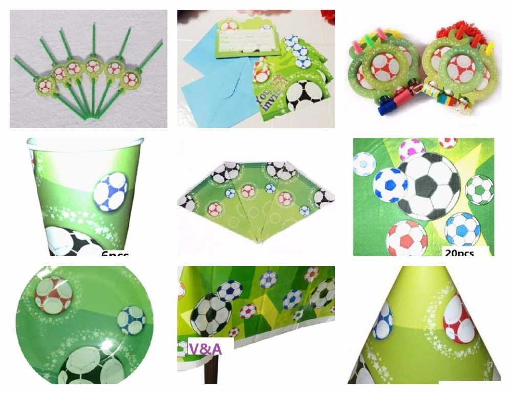 CAMMITEVER Soccer Football Theme Cartoon Party For Kids Green Birthday Party Hats Table  ...