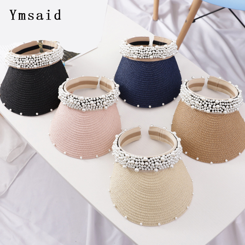 2019 New Pearls Women Summer Hat Female Elegant Pearl Straw Sun Hat Wide Brim Visor Hat For Girls Beach Hats Fashion Cap Ladies